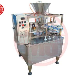 دستگاه پرکن پرکن روتاری تک نازله پیستونی مخصوص ظروف لیوانی توان صنعت